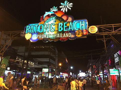 Patong Beach at night at Bangla Walking Street in Phuket, Thailand
