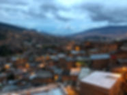 Sunset at Medellin in the Communa 13 neighborhood on the Graffiti Tour