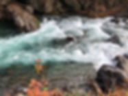 Water in the Daiya River in Nikko Japan on an autumn day