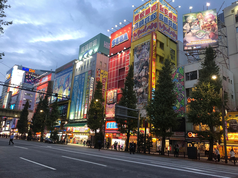A cloudy day on the street in the Akihabara district of Tokyo, Japan with anime signs illuminated