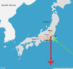 2 week itinerary map of a travel route through Japan