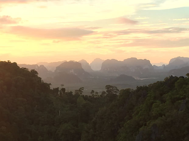 Sunset at the top of the Tiger Cave Temple in Krabi, Ao Nang, Thailand