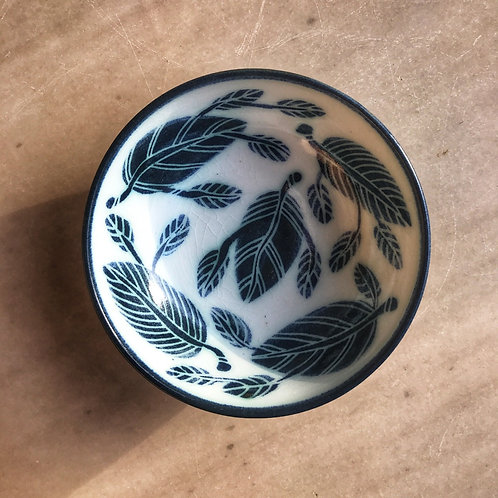 Porcelain Bowl with Green Leaves