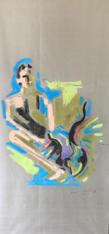 George Pastakas Cavafy painting oil on silk greek art