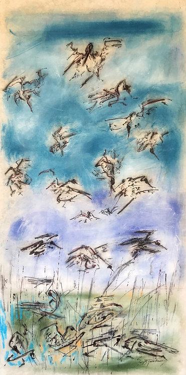George Pastakas Stymphalian Birds painting original art greek myth Hercules labors
