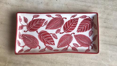 Large Porcelain Rectangular Platter with Red Leaves Motif