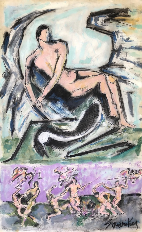 George Pastakas Cavafy painting oil on paper greek art
