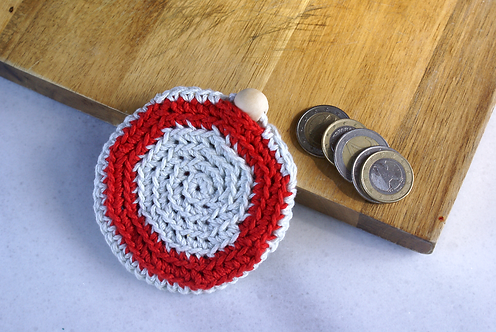 Red White Crochet Round Coin Purse