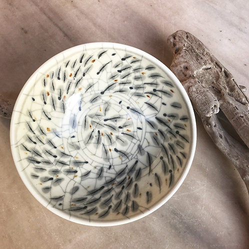 Porcelain Bowl with Grey Feathers Motif