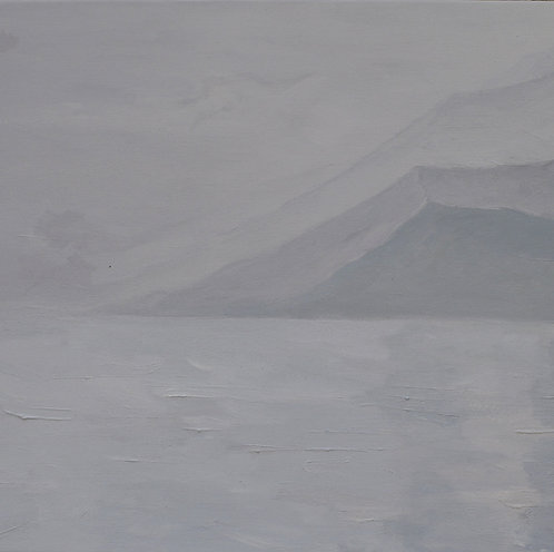 Oil on canvas landscape painting misty mountain view