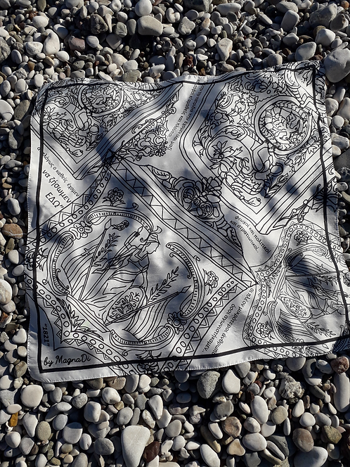 Black and White Silk scarf with historical patterns