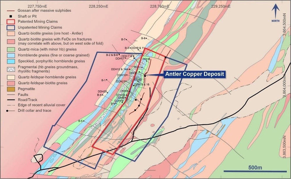Mapped geology at the Antler Copper Project in Arizona, USA, including all previous surface drilling.