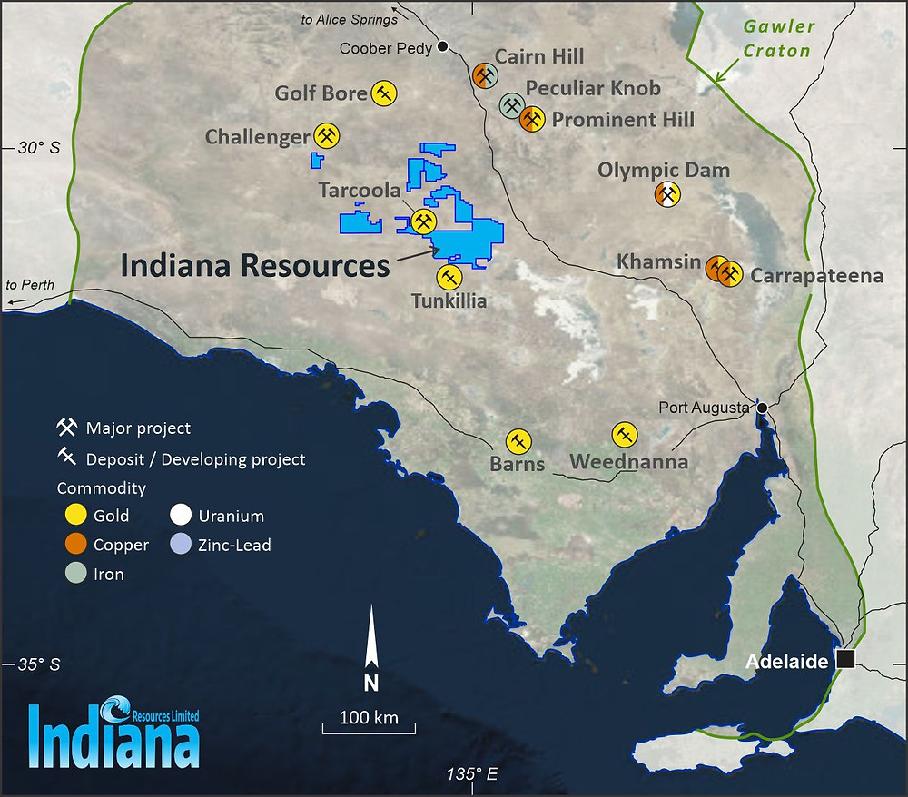 Tenement holdings for Indiana Resources Limited in the South Australian Gawler Craton