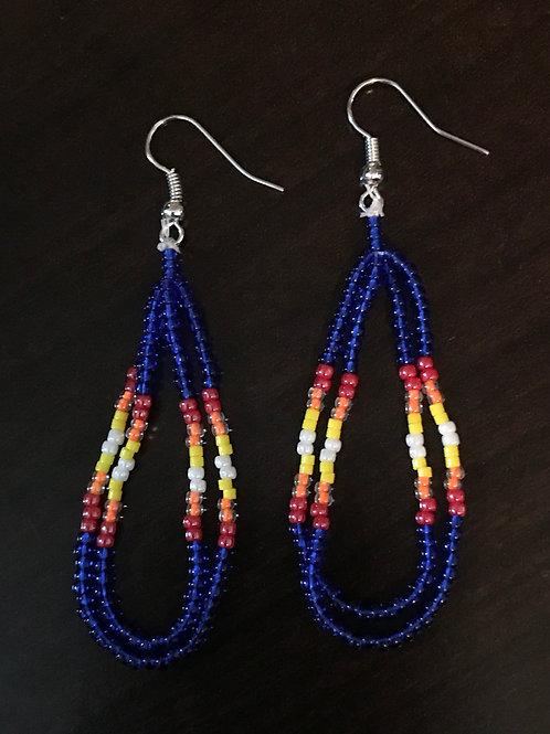 Beaded Loop Earrings - Deep blue