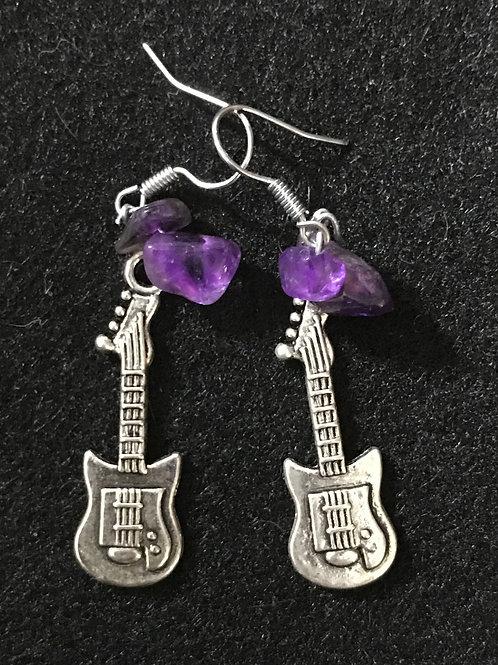 Purple Rock Guitar Earrings