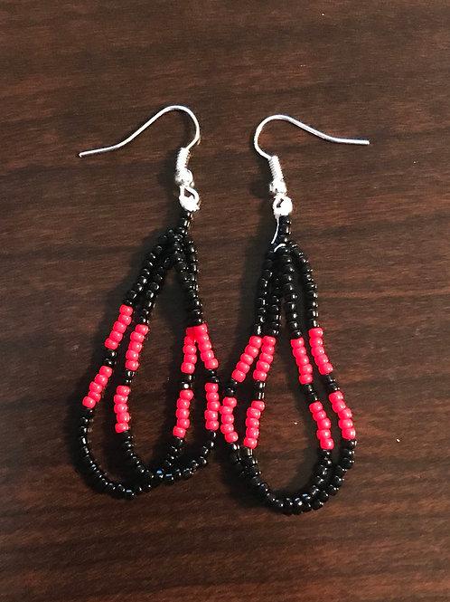 Beaded Loop Earrings - Black & red