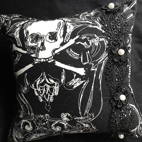 Mini Skull Pillow with Trim