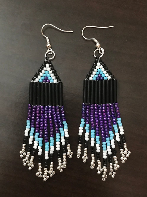 Purple & Blue Fringe Earrings