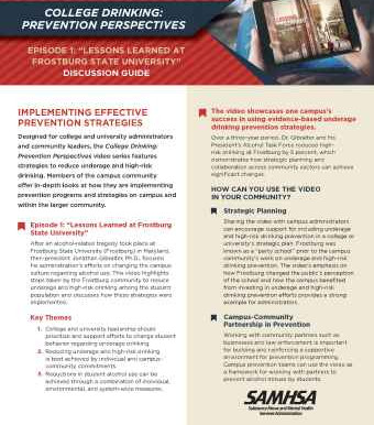 SAMHSA releases prevention resources for underage and high-risk college drinking