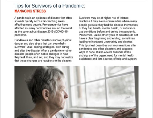 SAMHSA publishes tip sheet on managing stress during pandemic