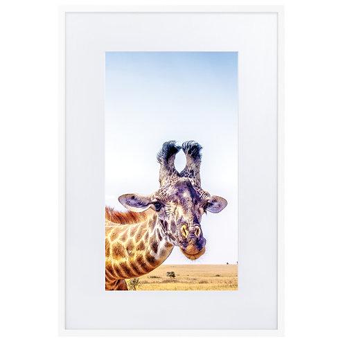 Flirty Giraffe - Matte Paper Framed Poster With Mat