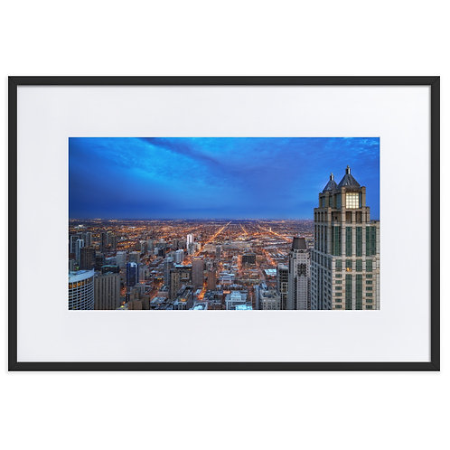 Blue Hour Chicago Matte Paper Framed Poster With Mat