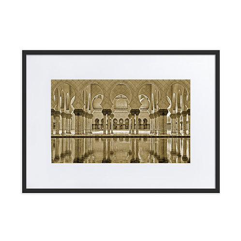 Grand Mosque Sepia - Matte Paper Framed Poster With Mat