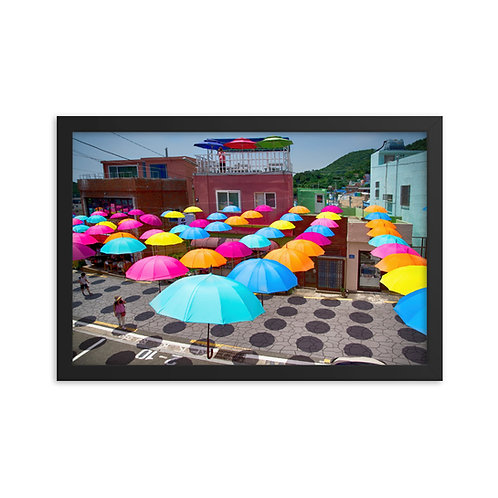 Festive Umbrellas at Gamcheondong - Framed photo paper poster