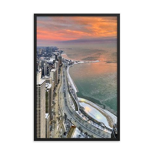 Pink Sky Morning - Framed photo paper poster