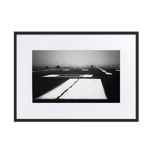Walking A Silent Runway - Matte Paper Framed Poster With Mat