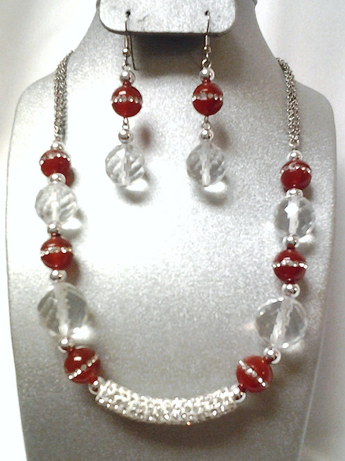 Red Carnelian Agate & Glass Bead Necklace Set 18""