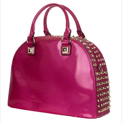 Rhinestone and Patent Leather Satchel Bag