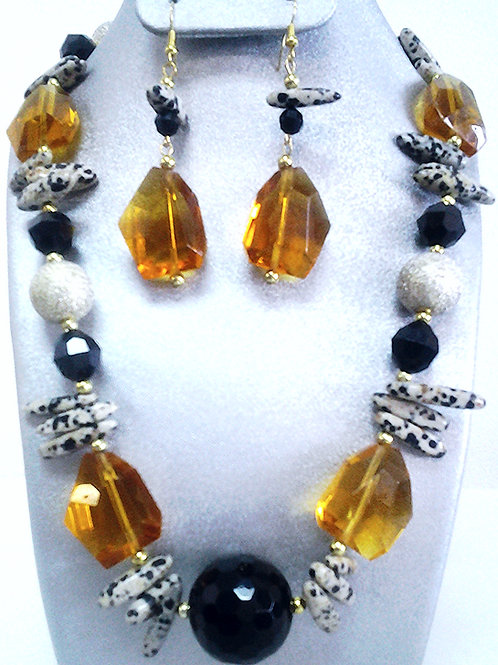 Dalmatian Print Stick-Black Onyx Bead Necklace Set