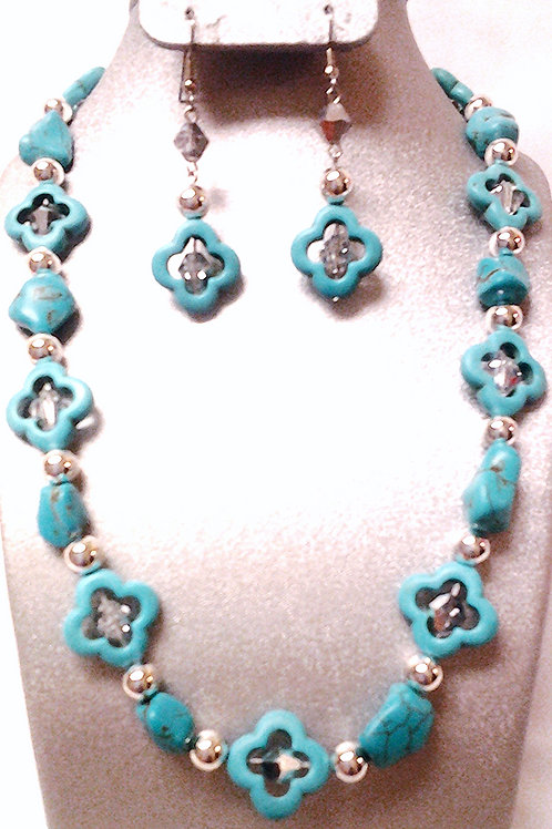 Turquoise Bead Necklace and Earring Set 17""