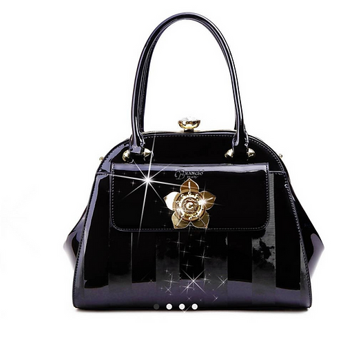 Floral Accent High-End Fashion Handbag
