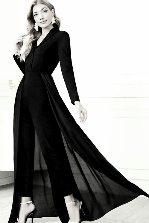 Lapel Collar Solid Shirt Jumpsuit with Skirt