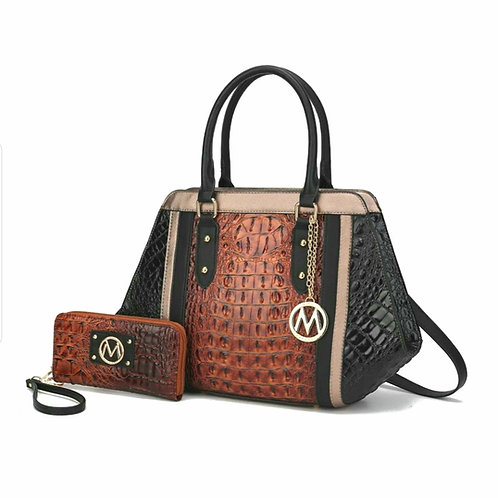 MKF Collection Daisy 2pc Croco Satchel Bag & Wallet