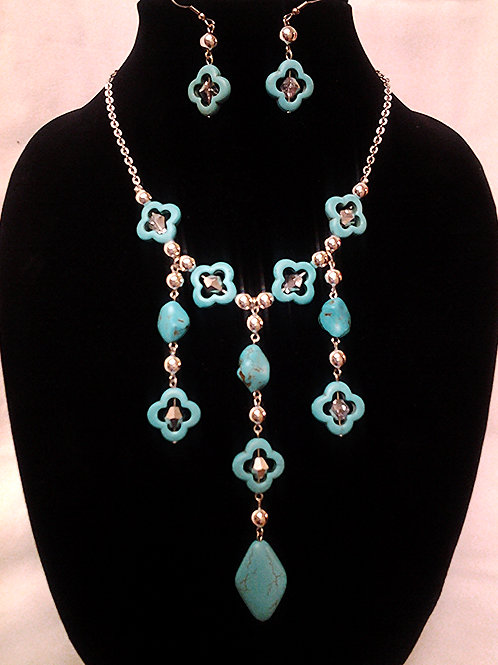 """Turquoise and Crystal Bead Necklace Set 18"""""""