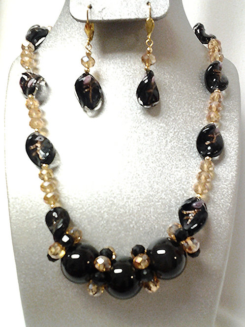 Lampwork-Czech Glass - Black Onyx Necklace Set 18""