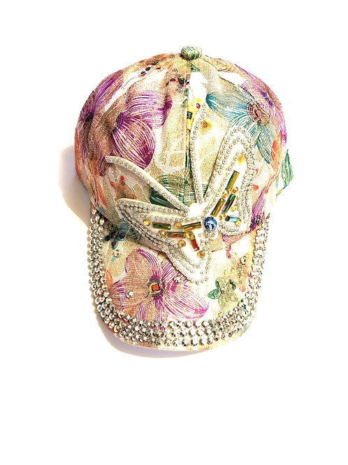 Floral Rhinestone Butterfly Cap