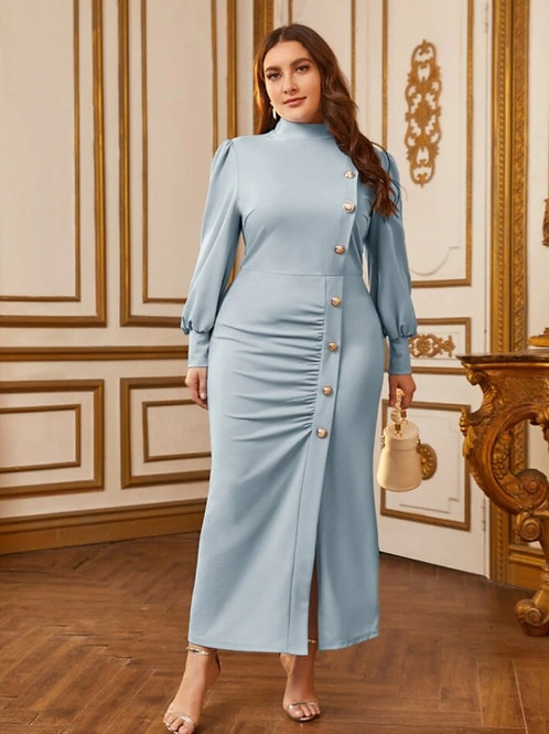 Bishop Sleeve Button Front Dress