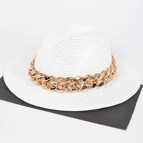 Faux Straw Fedora Hat with Oversized  Chain