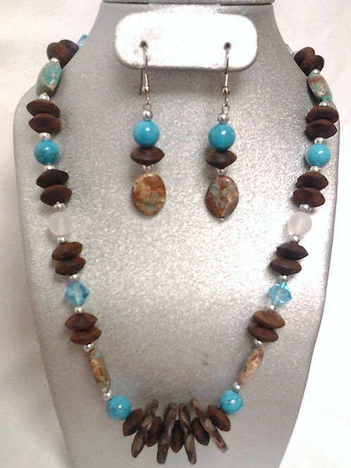 Wave Coconut Shell,Turquoise & Bark Necklace Set