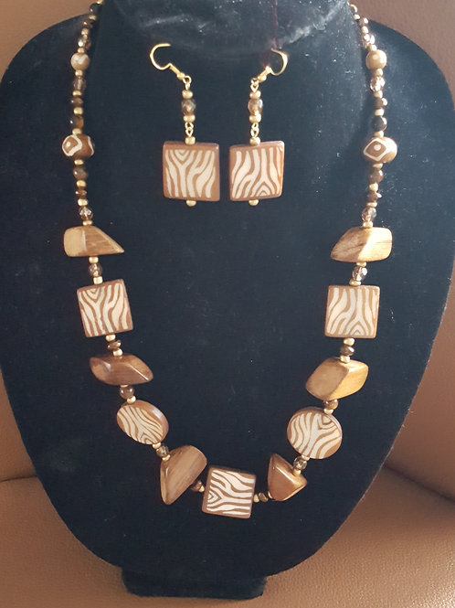 Wood and Stone Necklace Set