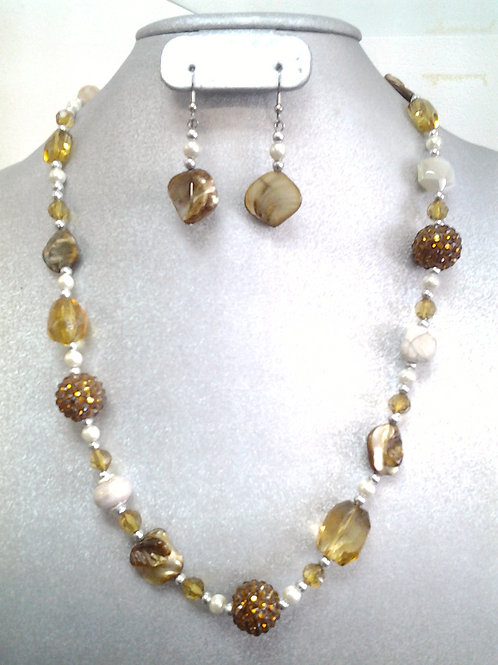 Stone, Glass And Pearl Beaded Neclace Set 24""