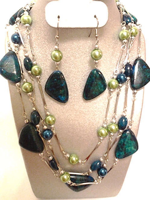 Azuite Chrysocolla Bead Necklace & Earring Set