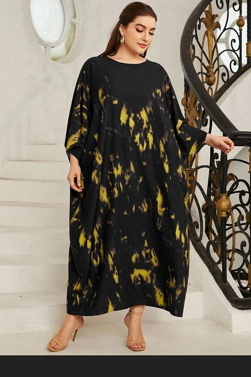 Plus Tie Dye Batwing Sleeve Dress