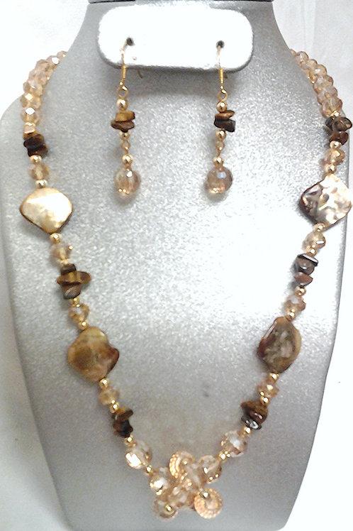 Tiger Eye Chip, Glass & Ceramic Bead Necklace Set