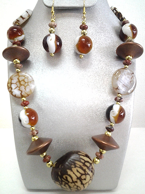 Tagua Nut & Ceramic Bead Necklace Set 18""