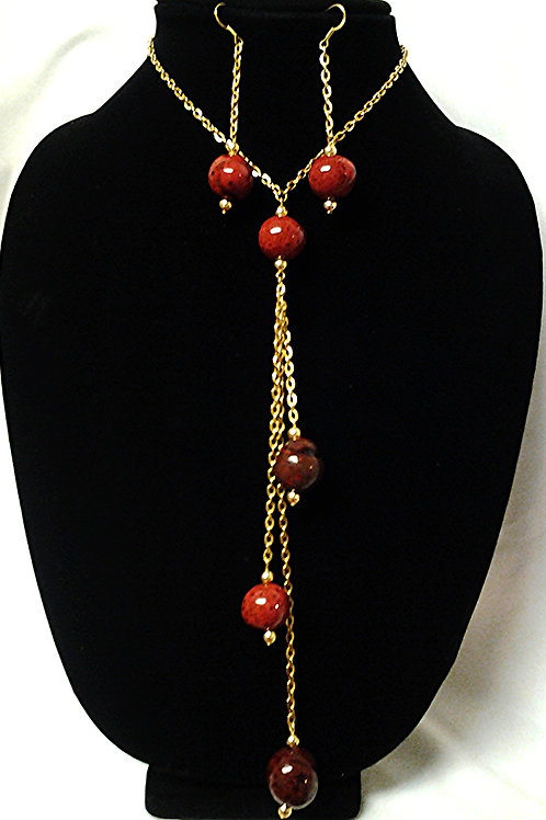 """Red Wood Bead Necklace & Earring Set 24"""""""
